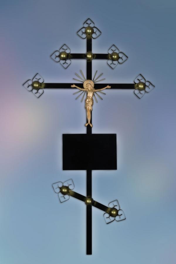 Крест на могилу металл Золотой