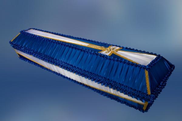 Гроб обитый тканью «Крест»