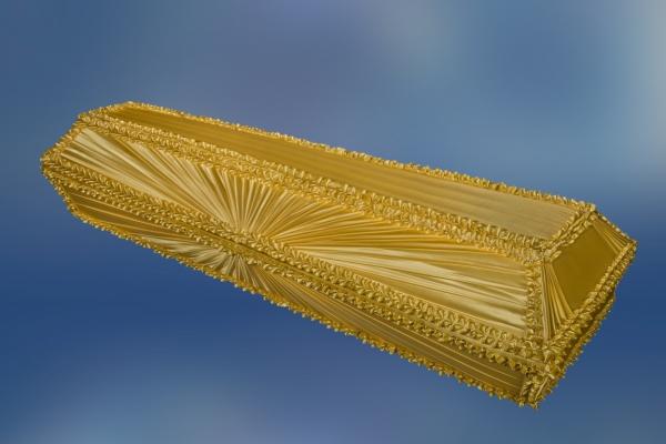 Гроб обитый тканью «Луч Золото»
